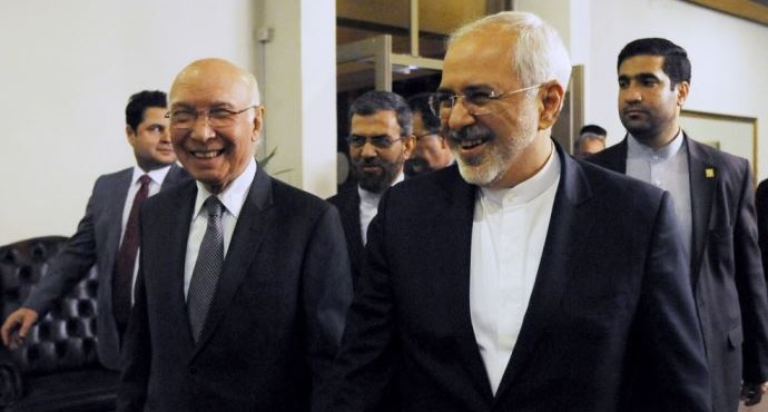 Iran's foreign minister Javad Zarif (R) and Pakistan's adviser to the PM on Foreign Affairs Sartaj Aziz in Islamabad Iran's foreign minister Javad Zarif (R) and Pakistan's adviser to the PM on Foreign Affairs Sartaj Aziz in Islamabad