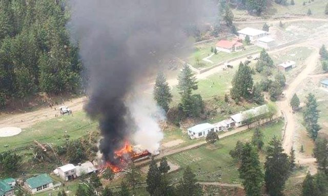 The scene of crash in Gilgit where Pakistani helicopter carrying foreign diplomats crash-landed on Friday 8 May 2015.