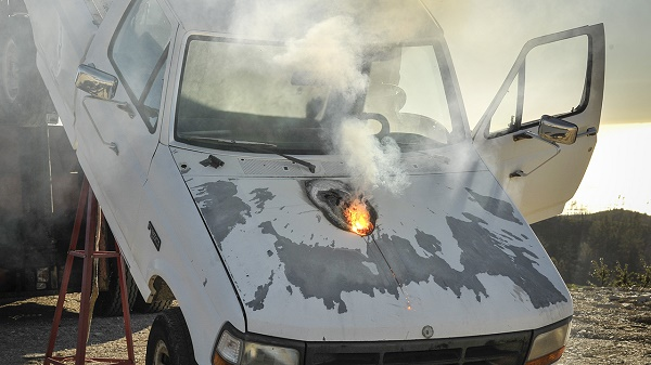 Lockheed Martin ATHENA laser weapon system defeats a truck target by disabling the engine, demonstrating its military effectiveness against enemy ground vehicles. Photo: Lockheed Martin.