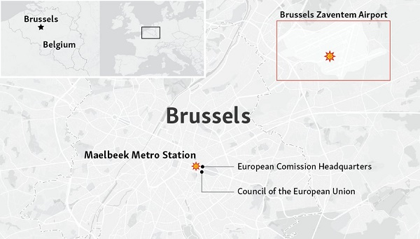 At least 21 dead as explosions hit Brussels airport, metro station