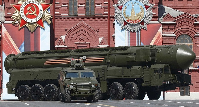 Military might: A Russian Yars RS-24 intercontinental ballistic missile system drives through Red Square during the Victory Day parade. Photo: Reuters
