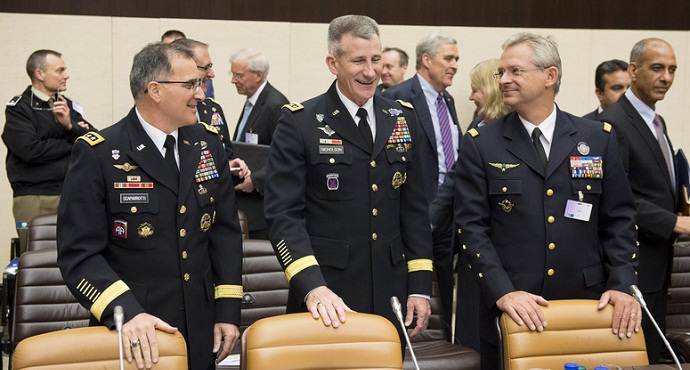 Left to right: General Curtis Scaparrotti (Supreme Allied Commander Europe) with General John Nicholson (Commander, Resolute Support) and General Denis Mercier (Supreme Allied Commander Transformation) at the NATO Foreign Ministers meeting