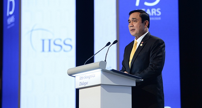Thailand's Prime Minister Prayuth Chan-Ocha speaking at Shangri-La Dialogue 2016 summit in Singapore