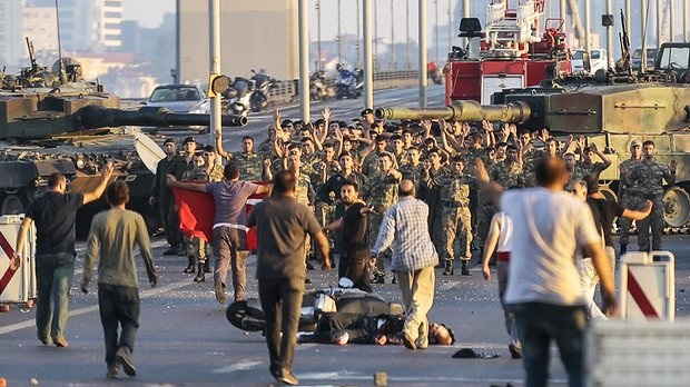 Soldiers involved in the coup attempt surrender on Bosphorus bridge with their hands raised in Istanbul on 16 July, 2016