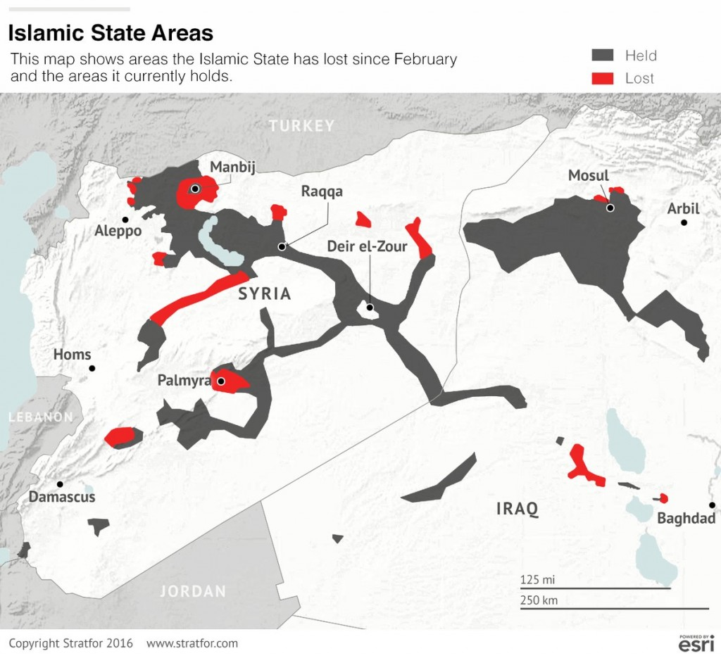 The map show areas ISIS has lost since February 2016. Infographic by Stratfor
