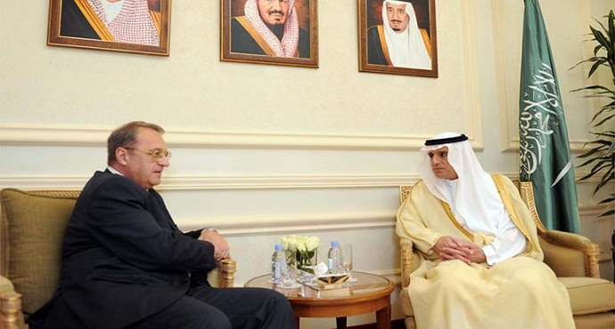 Russian President's Special envoy Mikhail Bogdanov in a meeting with Saudi Foreign Minister Adel al-Jubeir in Jeddah on 21 August 2016.
