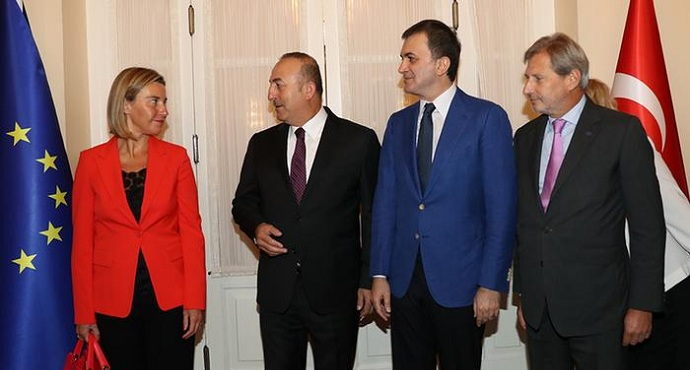EU foreign policy chief Federica Mogherini and EU officials meet Turkish Foreign Minister Mevlut Cavusoglu on 10 September 2016
