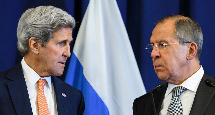 U.S. Secretary of State John F. Kerry and Russian Foreign Minister Sergei Lavrov during a news conference. (Fabrice Coffrini/Agence France-Presse via Getty Images)