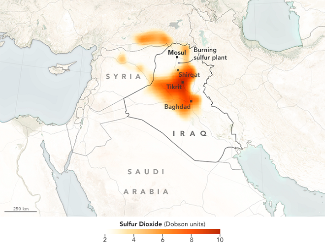Sulfur Dioxide levels in Iraq following sulfur mine fire set by ISIS . Photo: NASA Earth