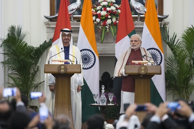 Indian Prime Minister Narendra Modi and UAE Sheikh Mohammed bin Zayed