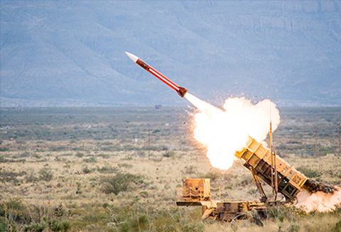 A Patriot Air and Missile Defense launcher fires an interceptor during a previous test at White Sands Missile Range in New Mexico. Photo by Raytheon