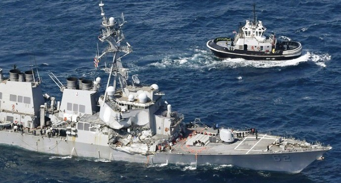 7 missing as US Navy destroyer collides with merchant ship off Japan