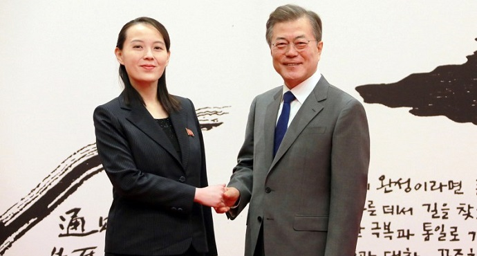 South Korean President Moon Jae-in shakes hands with Kim Yo Jong, the sister of North Korea's leader Kim Jong Un, in Seoul, South Korea, February 10, 2018. (KCNA)