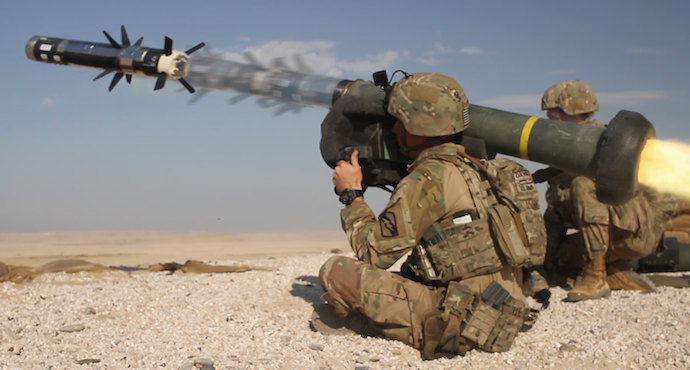 U.S. Army infantryman fires a Javelin shoulder-fired anti-tank missile during a combined arms live fire exercise as part of Exercise Eastern Action 2019 at Al-Ghalail Range in Qatar, Nov. 14, 2018. US Army photo