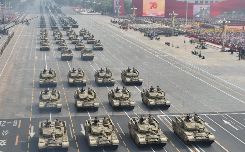 A tank formation takes part in the military parade during Beijing's celebrations marking the 70th anniversary. Credit: Alamy Live News