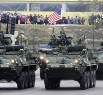 US and UK army parade in Estonia, 300 meters from Russia