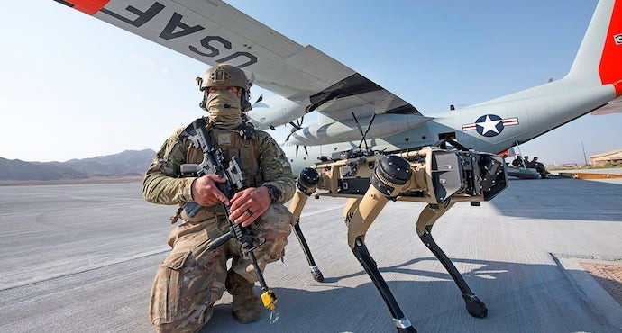 US military tests robot dogs to guard Air Force base